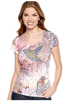 New Directions Petite Embellished Hummingbird Burnout Tee