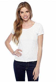 New Directions Petite Textured Cap Sleeve Top