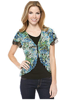 New Directions Petite Flutter Sleeve Layered Top