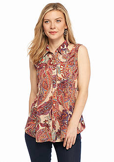 New Directions Petite Paisley Woven Top