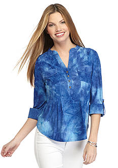 New Directions Petite Tie-Dye Printed Henley Top