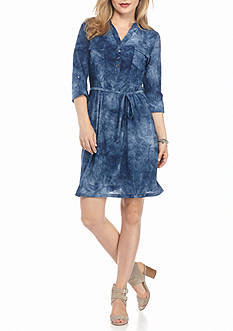 New Directions Petite Ombre Jacquard Shirtdress
