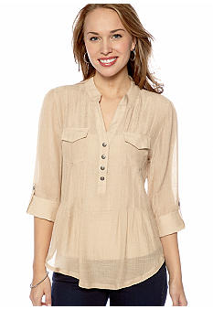 New Directions® Petite Double Pocket Roll Tab Sleeve Top