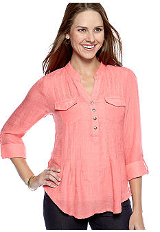 New Directions Petite Double Pocket Roll Tab Sleeve Top