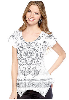 New Directions Petite Eyelash Top with Handkerchief Hemline