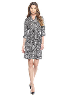 New Directions Petite Printed Jersey Shirt Dress