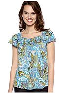 New Directions® Petite Short Sleeve Popcorn Front Top