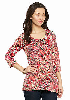 New Directions Petite Bar Back Snake Print Top