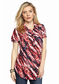 New Directions Petite Printed Collared Top