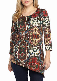 New Directions Petite Medallion Print Top