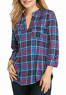 New Directions Petite Size Plaid Henley Multi Top