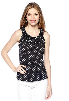 New Directions Petite Polka Dot Popcorn Top