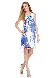 New Directions Petite High Low Chiffon Printed Dress