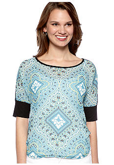 New Directions Petite Scarf Print Top with Hi Low Hemline