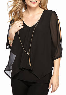 New Directions Petite Size Solid Woven Knit Top With Chain