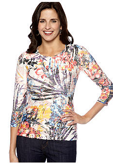 New Directions Petite Sublimation Body Con Top