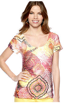 New Directions Petite Printed Sublimation Top