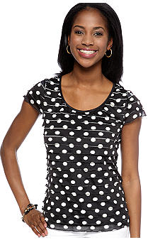 New Directions Petite Short Sleeve Polka Dot Eyelash Top