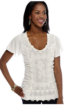 New Directions Petite Flutter Sleeve Crochet Front Lace Top