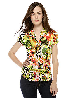 New Directions Petite Printed Button Down Top