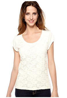 New Directions Petite Lace Front High Low Top