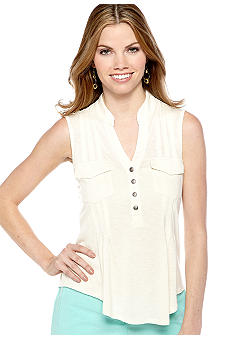 New Directions Petite Slub Top with Front Pockets