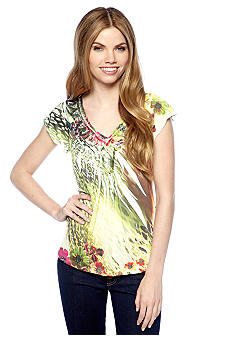 New Directions Petite Sublimation Tee with Crochet Embellished Neckline
