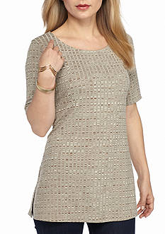 New Directions Petite Ribbed Spacedye Top