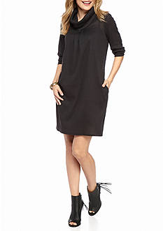 New Directions Petite Size Cowl Neck With Pleat Front Knit Dress
