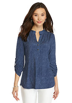 New Directions Petite Faux Chambray Henley Top