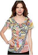 New Directions® Petite Flutter Sleeve Popcorn Top