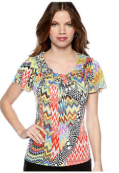 New Directions Petite Flutter Sleeve Popcorn Top
