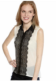New Directions Petite Sleeveless Lace Front Button Down Blouse