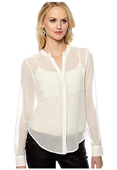 Sanctuary Swiss Dot Button Front Blouse