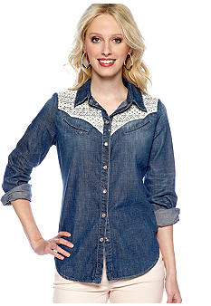 Sanctuary Lace Cowgirl Denim Blouse