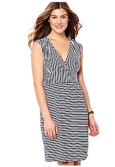 Nautica Alternating Stripe V-Neck Dress