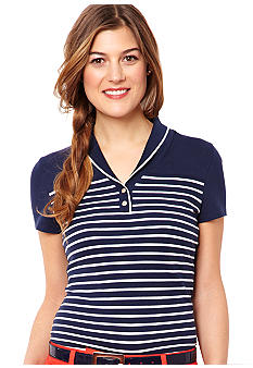 Nautica Breton Striped Shawl Collar Polo Shirt