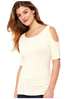 Nautica Cold Shoulder Striped Top