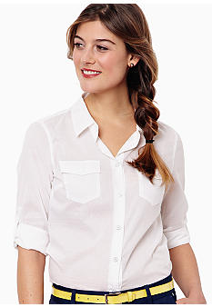 Nautica Solid Roll Tab Blouse