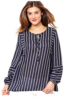 Nautica Striped Chiffon Blouse