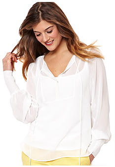 Nautica Solid Split Neck Blouse