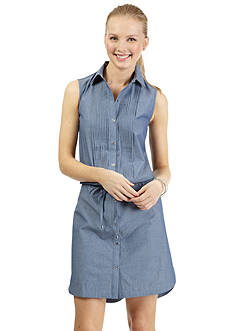 Nautica Sleeveless Pintucked Shirtdress