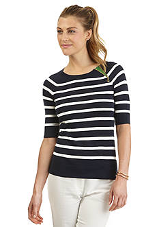 Nautica Elbow Sleeve Striped Sweater
