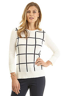 Nautica Windowpane Intarsia Sweater