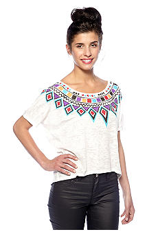 Big Star Izzie Tribal Neck Burnout Top