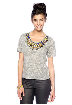 Big Star Embellished Scoop Neck Burnout Knit Top
