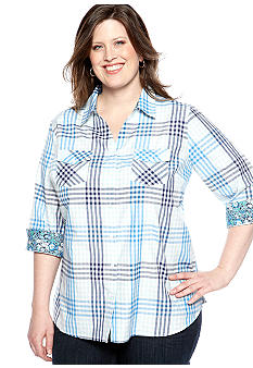 Kim Rogers Plus Size Plaid Button Up Shirt