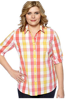 Kim Rogers Plus Size Seersucker Plaid Roll Tab Sleeve Button Up