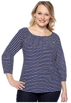 Kim Rogers Plus Size Stripe Peasant Woven Top