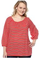 Kim Rogers® Plus Size Stripe Peasant Woven Top